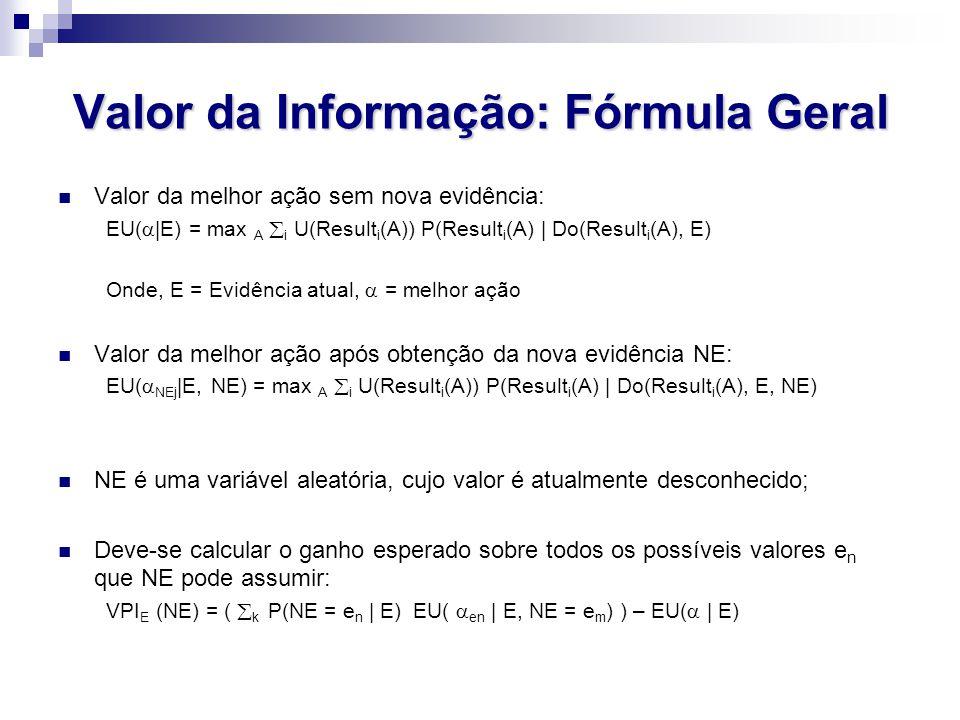 Valor da Informação: Fórmula Geral Valor da melhor ação sem nova evidência: EU(  |E) = max A  i U(Result i (A)) P(Result i (A) | Do(Result i (A), E) Onde, E = Evidência atual,  = melhor ação Valor da melhor ação após obtenção da nova evidência NE: EU(  NEj |E, NE) = max A  i U(Result i (A)) P(Result i (A) | Do(Result i (A), E, NE) NE é uma variável aleatória, cujo valor é atualmente desconhecido; Deve-se calcular o ganho esperado sobre todos os possíveis valores e n que NE pode assumir: VPI E (NE) = (  k P(NE = e n | E) EU(  en | E, NE = e m ) ) – EU(  | E)