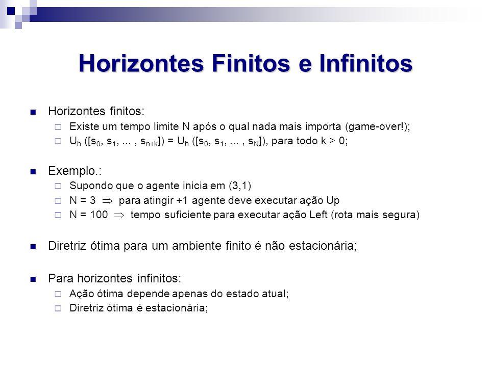 Horizontes Finitos e Infinitos Horizontes finitos:  Existe um tempo limite N após o qual nada mais importa (game-over!);  U h ([s 0, s 1,..., s n+k ]) = U h ([s 0, s 1,..., s N ]), para todo k > 0; Exemplo.:  Supondo que o agente inicia em (3,1)  N = 3  para atingir +1 agente deve executar ação Up  N = 100  tempo suficiente para executar ação Left (rota mais segura) Diretriz ótima para um ambiente finito é não estacionária; Para horizontes infinitos:  Ação ótima depende apenas do estado atual;  Diretriz ótima é estacionária;