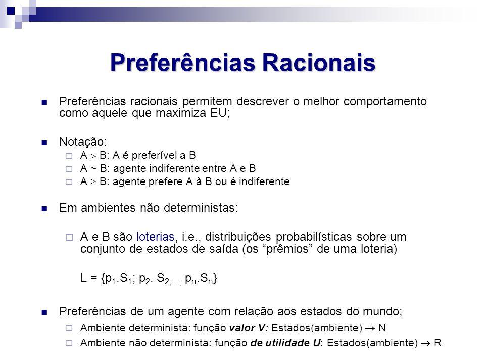 Preferências Racionais Preferências racionais permitem descrever o melhor comportamento como aquele que maximiza EU; Notação:  A  B: A é preferível a B  A ~ B: agente indiferente entre A e B  A  B: agente prefere A à B ou é indiferente Em ambientes não deterministas:  A e B são loterias, i.e., distribuições probabilísticas sobre um conjunto de estados de saída (os prêmios de uma loteria) L = {p 1.S 1 ; p 2.