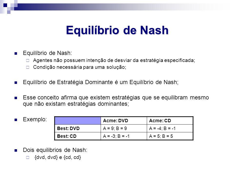 Equilíbrio de Nash Equilíbrio de Nash:  Agentes não possuem intenção de desviar da estratégia especificada;  Condição necessária para uma solução; Equilíbrio de Estratégia Dominante é um Equilíbrio de Nash; Esse conceito afirma que existem estratégias que se equilibram mesmo que não existam estratégias dominantes; Exemplo: Dois equilibrios de Nash:  {dvd, dvd} e {cd, cd} Acme: DVDAcme: CD Best: DVDA = 9; B = 9A = -4; B = -1 Best: CDA = -3; B = -1A = 5; B = 5