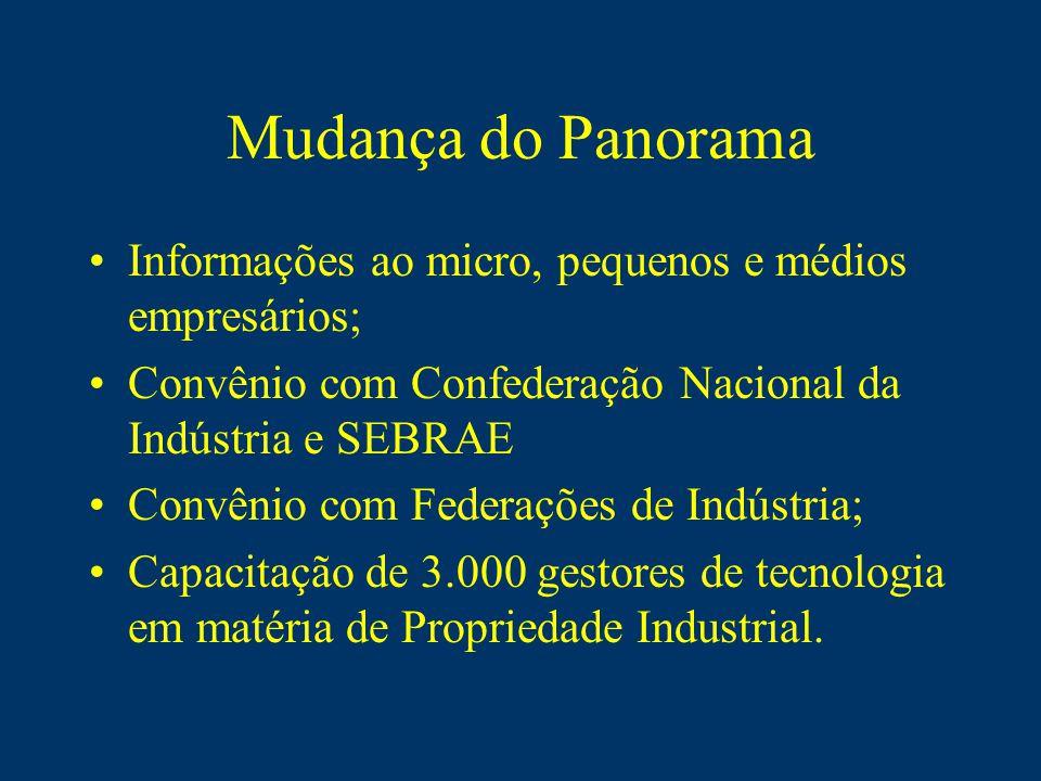 Mudança do Panorama Informações ao micro, pequenos e médios empresários; Convênio com Confederação Nacional da Indústria e SEBRAE Convênio com Federações de Indústria; Capacitação de 3.000 gestores de tecnologia em matéria de Propriedade Industrial.