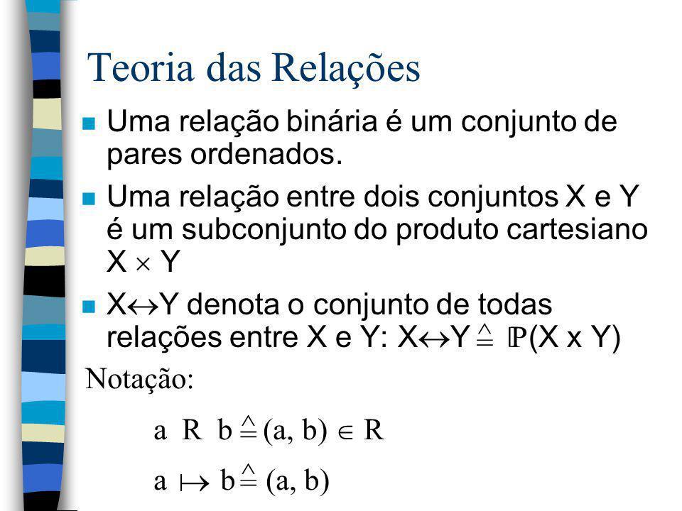Teoria das Relações n Uma relação binária é um conjunto de pares ordenados. n Uma relação entre dois conjuntos X e Y é um subconjunto do produto carte