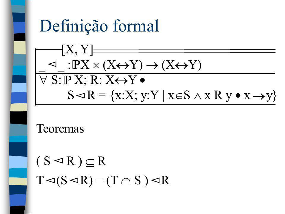Definição formal [X, Y] _ _ : X  (X  Y)  (X  Y)  S: X; R: X  Y  S R = {x:X; y:Y | x  S  x R y  x y} P [ Teoremas ( S R )  R T (S R) = (T 