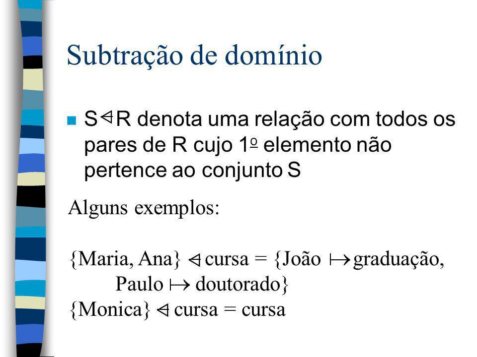 Subtração de domínio n S R denota uma relação com todos os pares de R cujo 1 o elemento não pertence ao conjunto S Alguns exemplos: {Maria, Ana} cursa