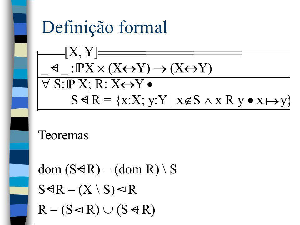 Definição formal [X, Y] _ _ : X  (X  Y)  (X  Y)  S: X; R: X  Y  S R = {x:X; y:Y | x  S  x R y  x y} P [ Teoremas dom (S R) = (dom R) \ S S R
