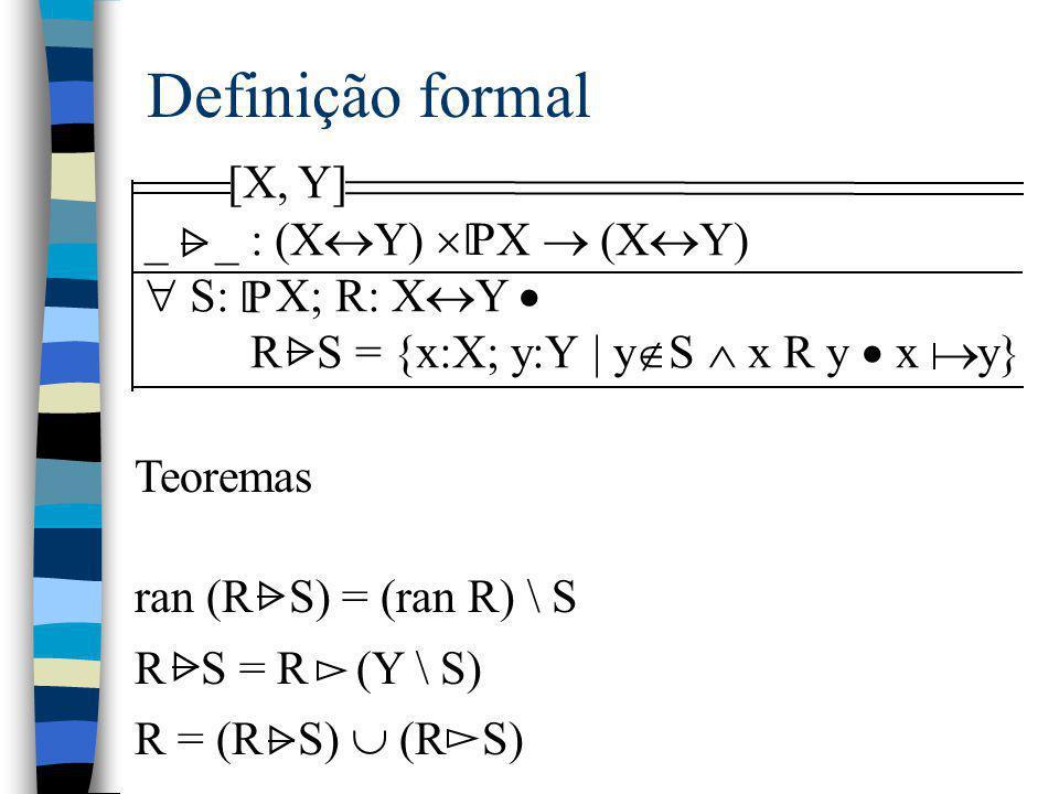 Definição formal [X, Y] _ _ : (X  Y)  X  (X  Y)  S: X; R: X  Y  R S = {x:X; y:Y | y  S  x R y  x y} P [ Teoremas ran (R S) = (ran R) \ S R S