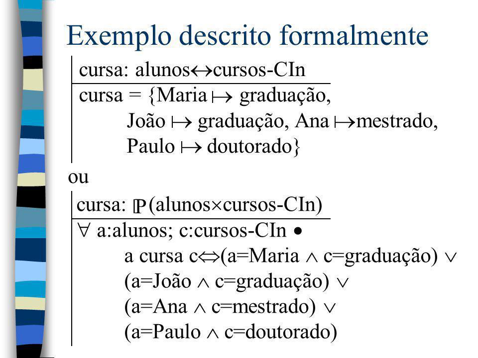 Exemplo descrito formalmente cursa: alunos  cursos-CIn cursa = {Maria graduação, João graduação, Ana mestrado, Paulo doutorado}    ou cursa: (alu