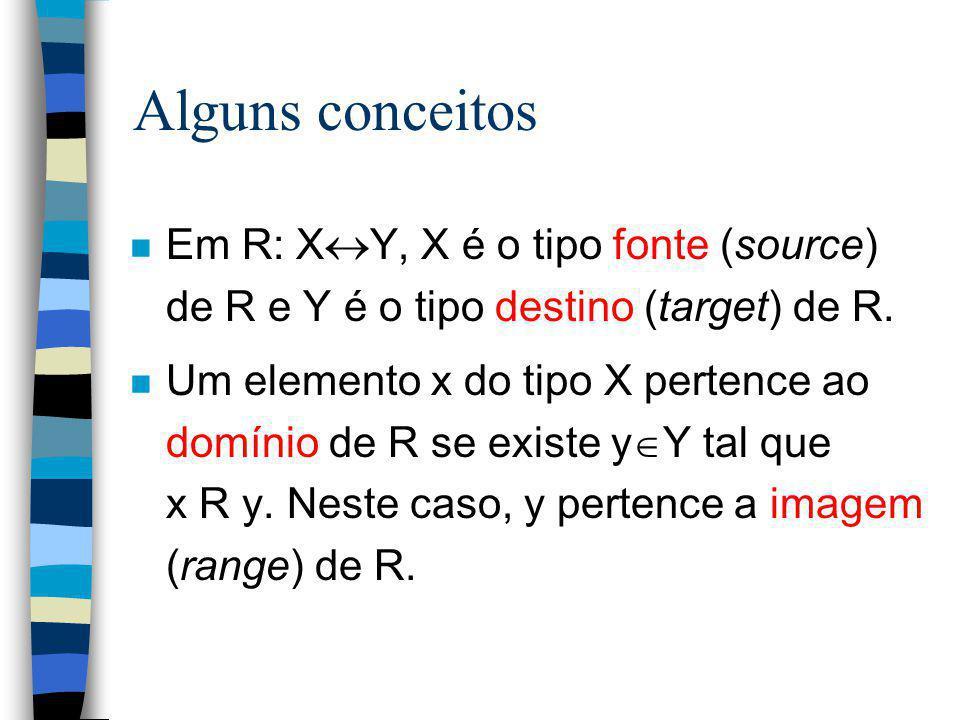 Alguns conceitos n Em R: X  Y, X é o tipo fonte (source) de R e Y é o tipo destino (target) de R. n Um elemento x do tipo X pertence ao domínio de R