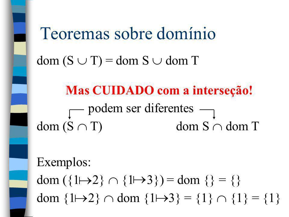 Teoremas sobre domínio dom (S  T) = dom S  dom T Mas CUIDADO com a interseção! podem ser diferentes dom (S  T) dom S  dom T Exemplos: dom ({1 2} 