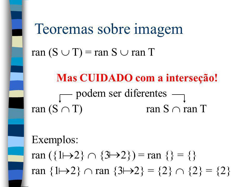 Teoremas sobre imagem ran (S  T) = ran S  ran T Mas CUIDADO com a interseção! podem ser diferentes ran (S  T) ran S  ran T Exemplos: ran ({1 2} 