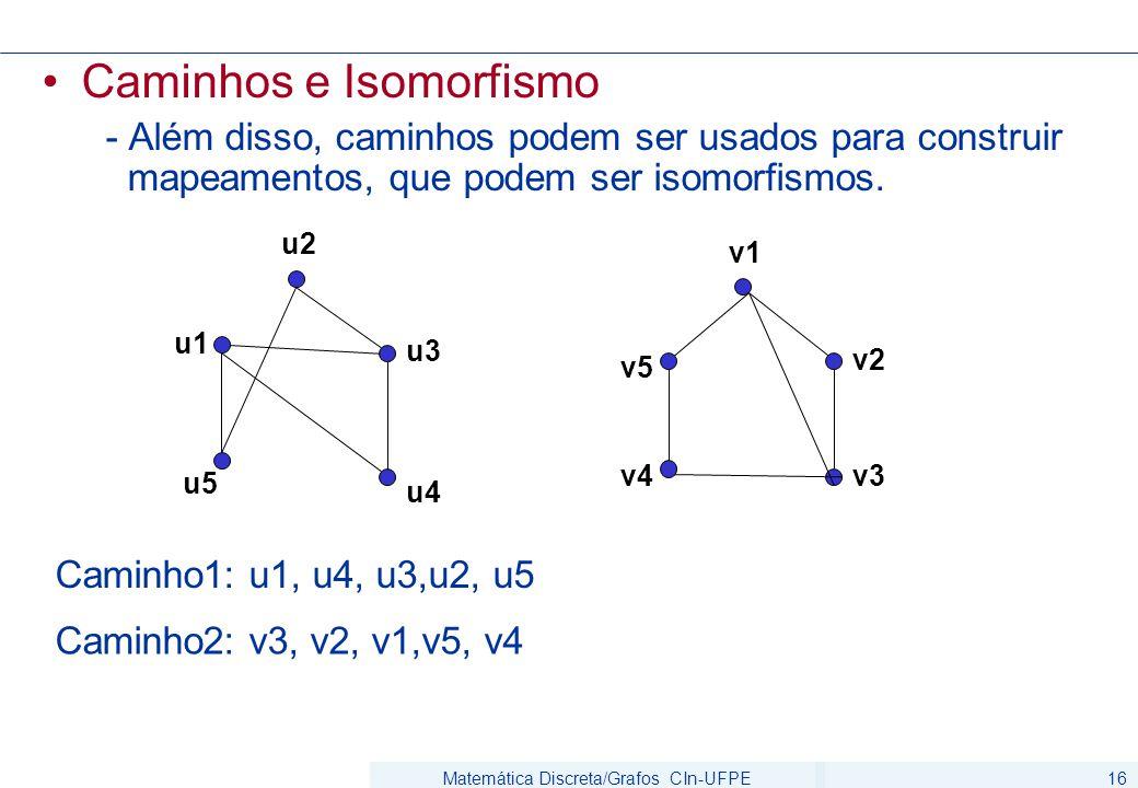 Matemática Discreta/Grafos CIn-UFPE16 Caminhos e Isomorfismo - Além disso, caminhos podem ser usados para construir mapeamentos, que podem ser isomorf