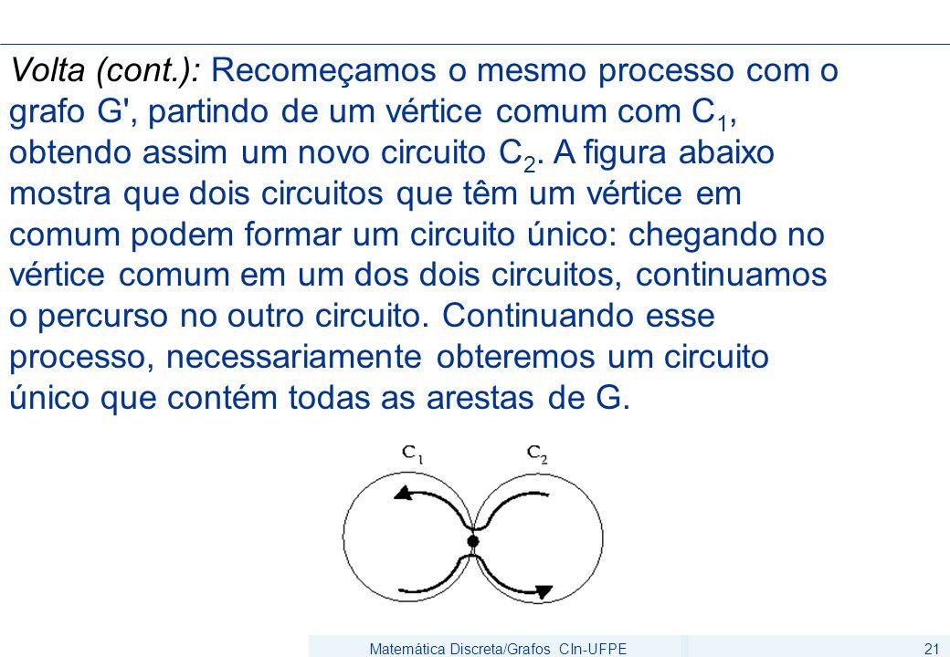 Matemática Discreta/Grafos CIn-UFPE21 Volta (cont.): Recomeçamos o mesmo processo com o grafo G', partindo de um vértice comum com C 1, obtendo assim