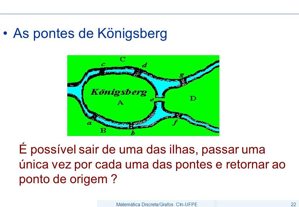 Matemática Discreta/Grafos CIn-UFPE22 As pontes de Königsberg É possível sair de uma das ilhas, passar uma única vez por cada uma das pontes e retorna