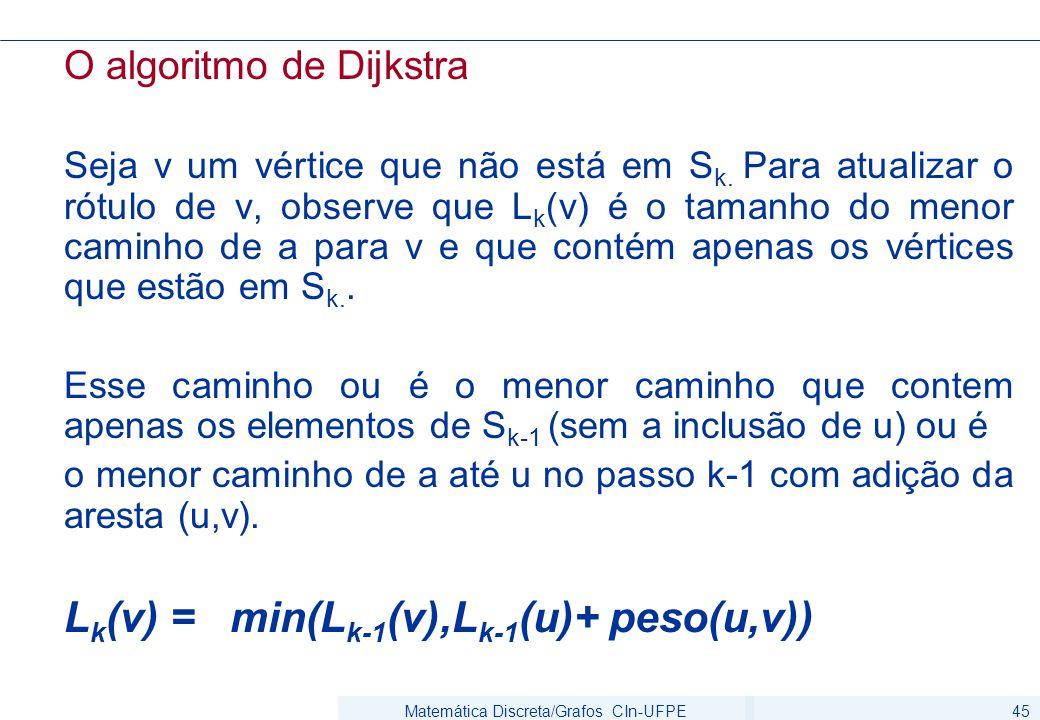 Matemática Discreta/Grafos CIn-UFPE45 O algoritmo de Dijkstra Seja v um vértice que não está em S k. Para atualizar o rótulo de v, observe que L k (v)
