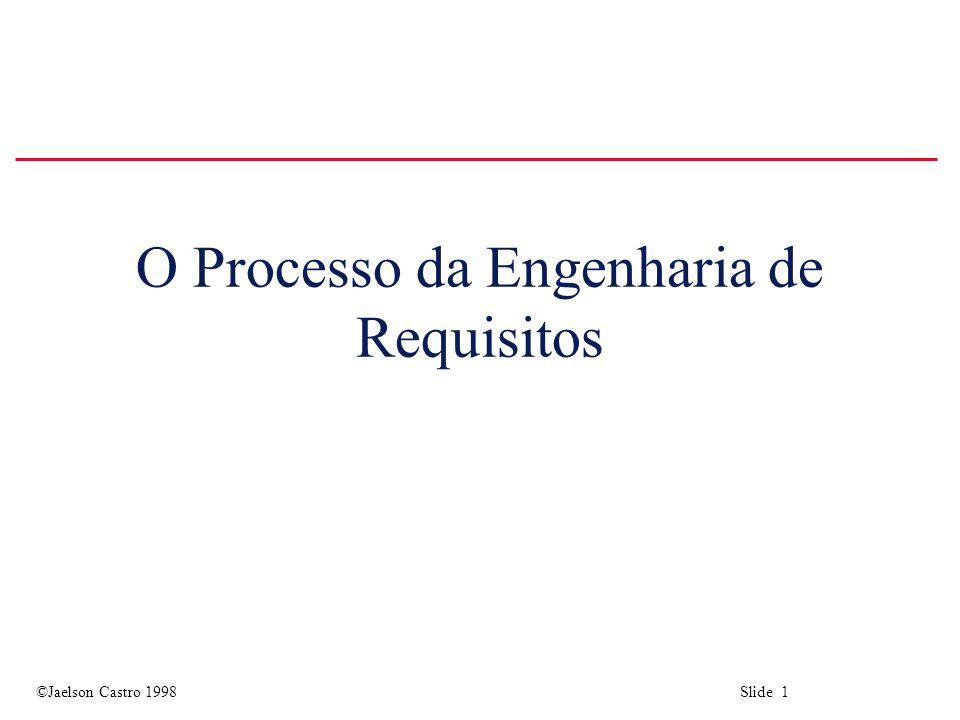 ©Jaelson Castro 1998 Slide 32 RE process maturity levels u Nível inicial Não há processo definido de ER.