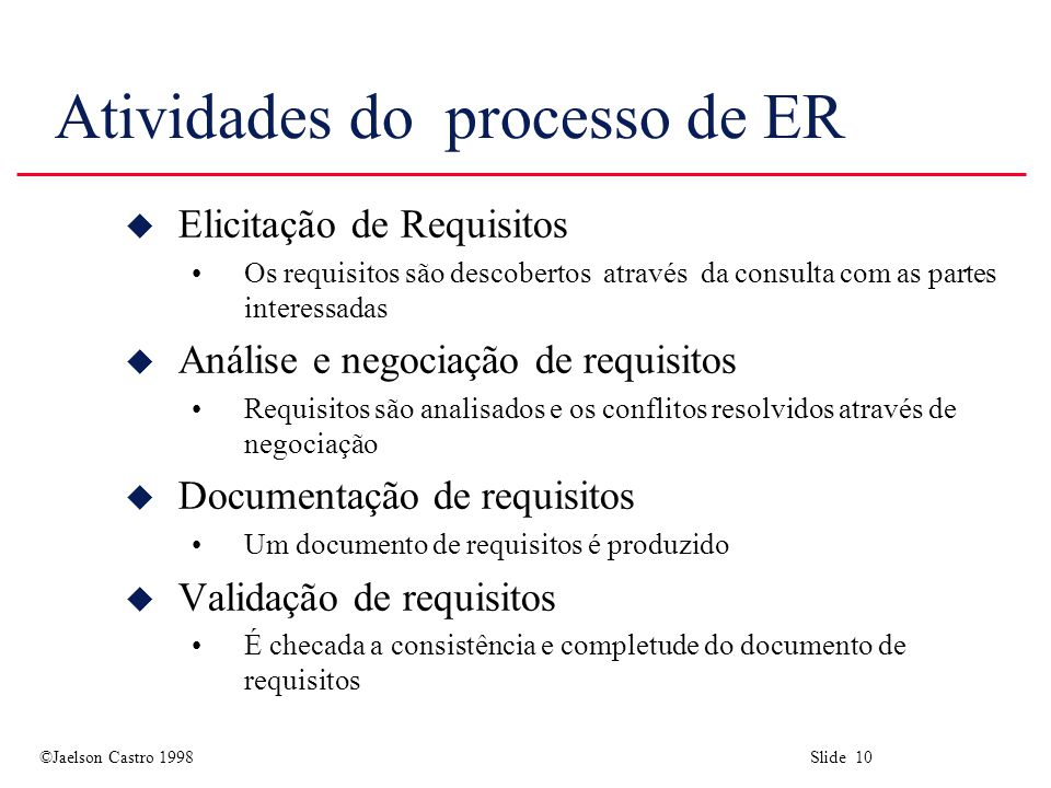 ©Jaelson Castro 1998 Slide 10 Atividades do processo de ER u Elicitação de Requisitos Os requisitos são descobertos através da consulta com as partes