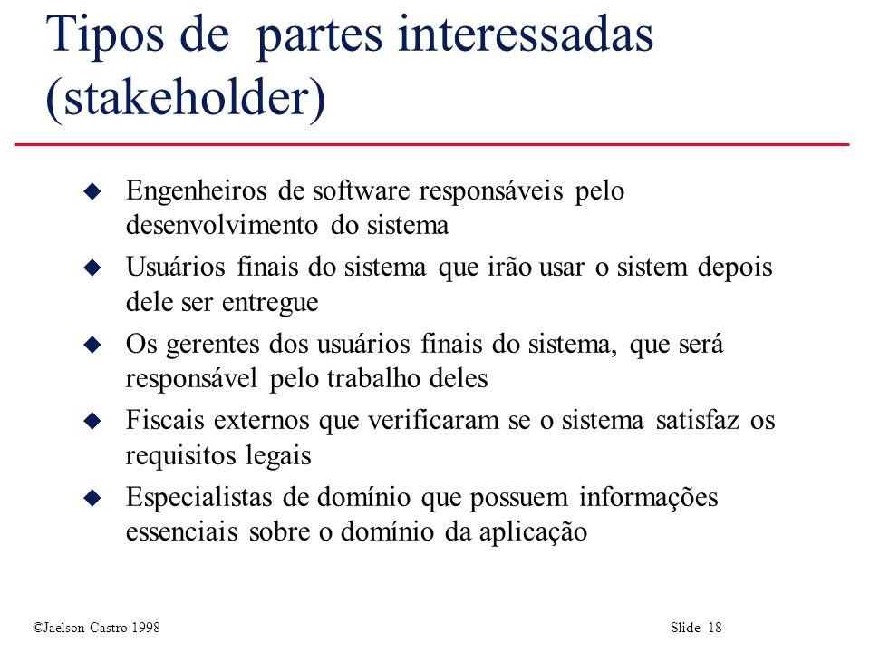 ©Jaelson Castro 1998 Slide 18 Tipos de partes interessadas (stakeholder) u Engenheiros de software responsáveis pelo desenvolvimento do sistema u Usuá