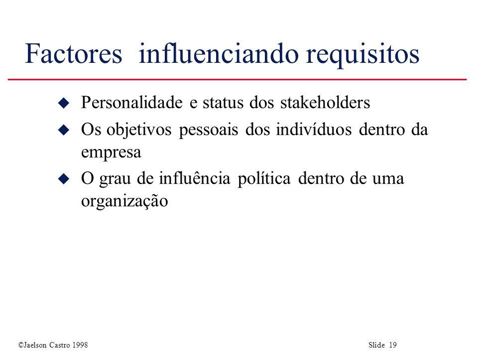 ©Jaelson Castro 1998 Slide 19 Factores influenciando requisitos u Personalidade e status dos stakeholders u Os objetivos pessoais dos indivíduos dentro da empresa u O grau de influência política dentro de uma organização