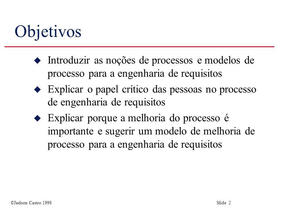 ©Jaelson Castro 1998 Slide 2 Objetivos u Introduzir as noções de processos e modelos de processo para a engenharia de requisitos u Explicar o papel crítico das pessoas no processo de engenharia de requisitos u Explicar porque a melhoria do processo é importante e sugerir um modelo de melhoria de processo para a engenharia de requisitos