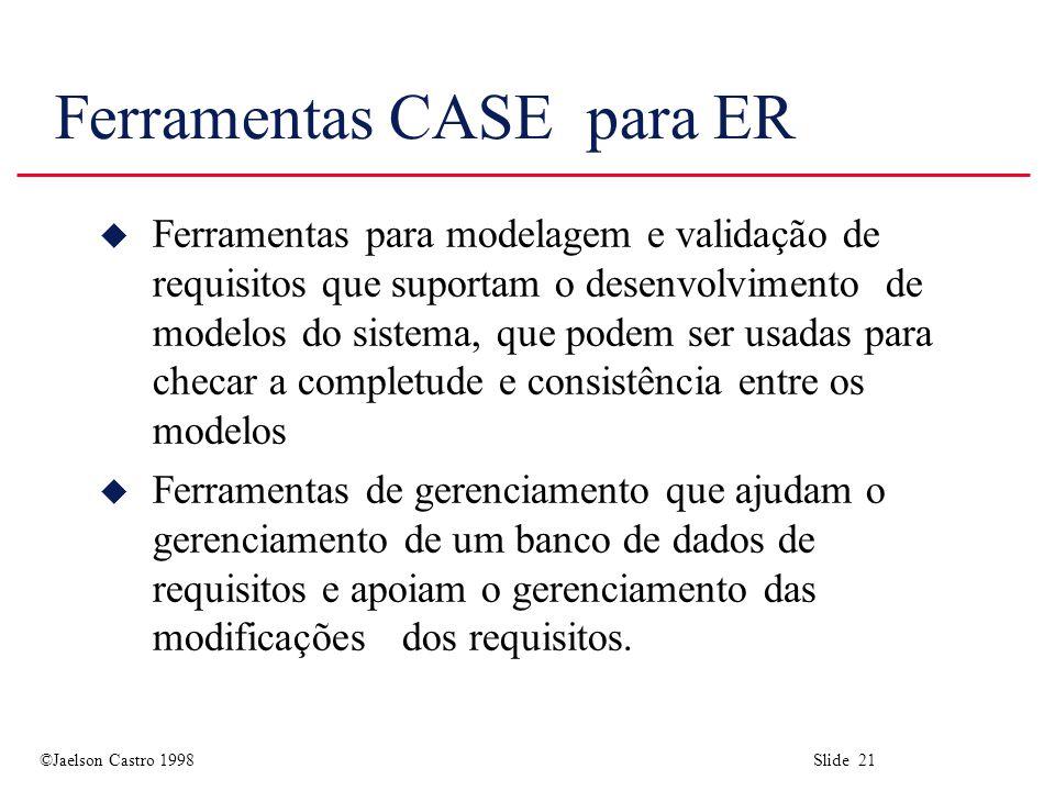 ©Jaelson Castro 1998 Slide 21 Ferramentas CASE para ER u Ferramentas para modelagem e validação de requisitos que suportam o desenvolvimento de modelos do sistema, que podem ser usadas para checar a completude e consistência entre os modelos u Ferramentas de gerenciamento que ajudam o gerenciamento de um banco de dados de requisitos e apoiam o gerenciamento das modificações dos requisitos.