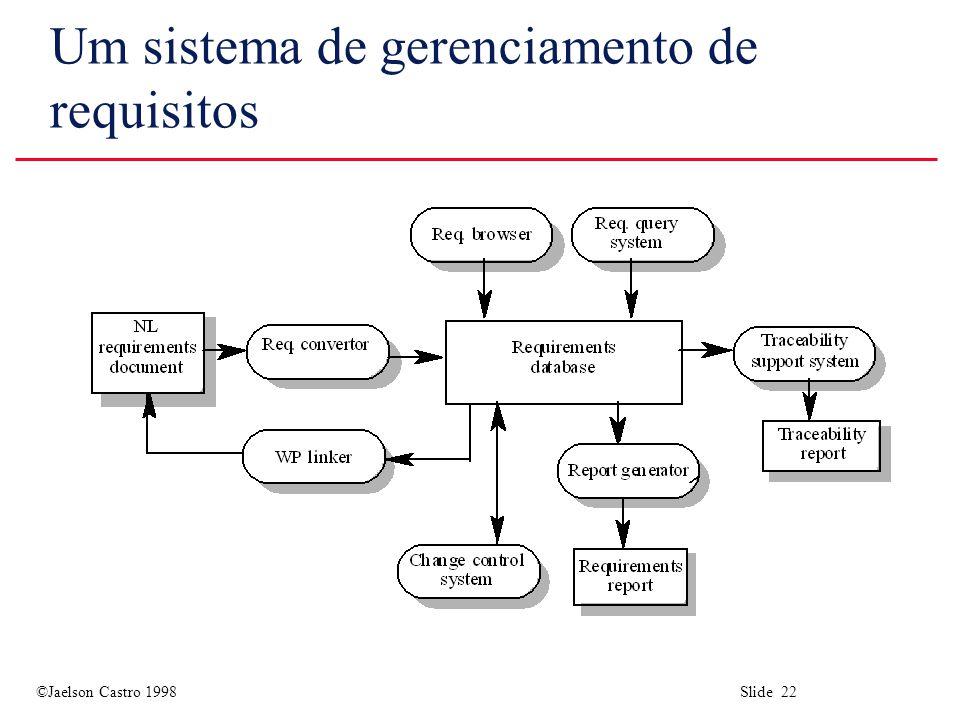 ©Jaelson Castro 1998 Slide 22 Um sistema de gerenciamento de requisitos