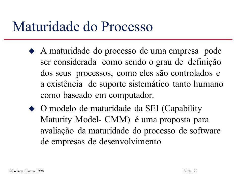 ©Jaelson Castro 1998 Slide 27 Maturidade do Processo u A maturidade do processo de uma empresa pode ser considerada como sendo o grau de definição dos