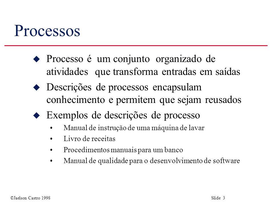 ©Jaelson Castro 1998 Slide 3 Processos u Processo é um conjunto organizado de atividades que transforma entradas em saídas u Descrições de processos e
