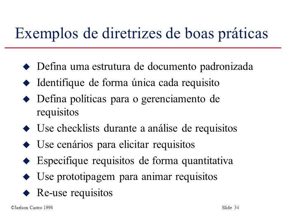 ©Jaelson Castro 1998 Slide 34 Exemplos de diretrizes de boas práticas u Defina uma estrutura de documento padronizada u Identifique de forma única cad