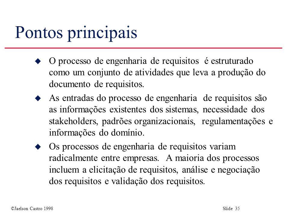 ©Jaelson Castro 1998 Slide 35 Pontos principais u O processo de engenharia de requisitos é estruturado como um conjunto de atividades que leva a produ
