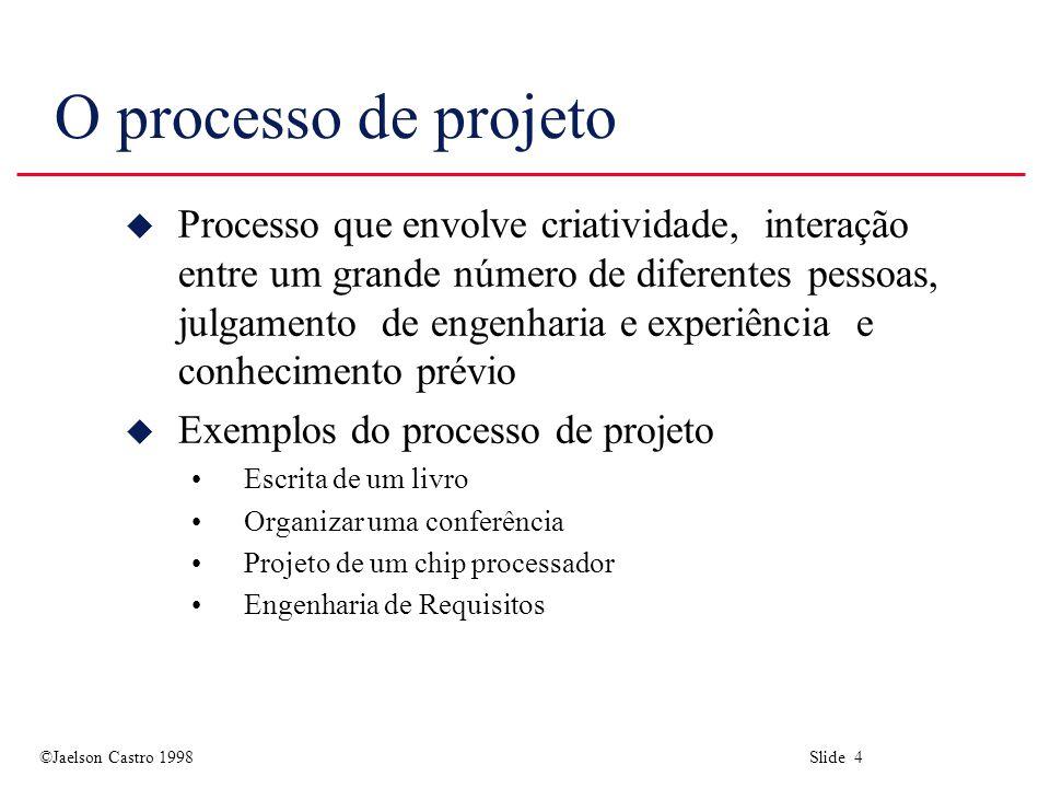 ©Jaelson Castro 1998 Slide 4 O processo de projeto u Processo que envolve criatividade, interação entre um grande número de diferentes pessoas, julgamento de engenharia e experiência e conhecimento prévio u Exemplos do processo de projeto Escrita de um livro Organizar uma conferência Projeto de um chip processador Engenharia de Requisitos