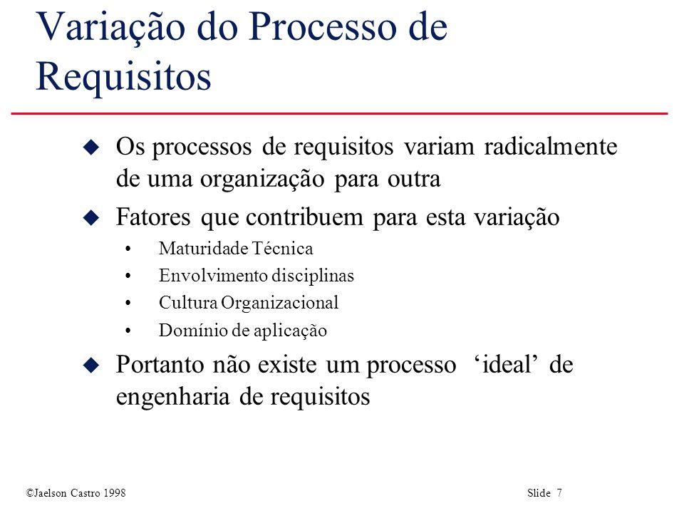 ©Jaelson Castro 1998 Slide 8 Modelos de Processos u Um modelo de processo é uma descrição simplificada do processo descrito de um determinado ponto de vista u Tipos de modelo de processo: Modelos de atividades de alto-nível Modelos detalhados de atividades Modelos de ações-papéis Modelos de entidade-relacionamento