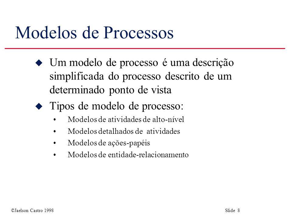 ©Jaelson Castro 1998 Slide 29 Níveis de maturidade u Nível inicial As empresas têm um processo não disciplinado e fica a cargo dos indivíduos tanto a escolha das técnicas de desenvolvimento a serem usadas como o gerenciamento do processo.