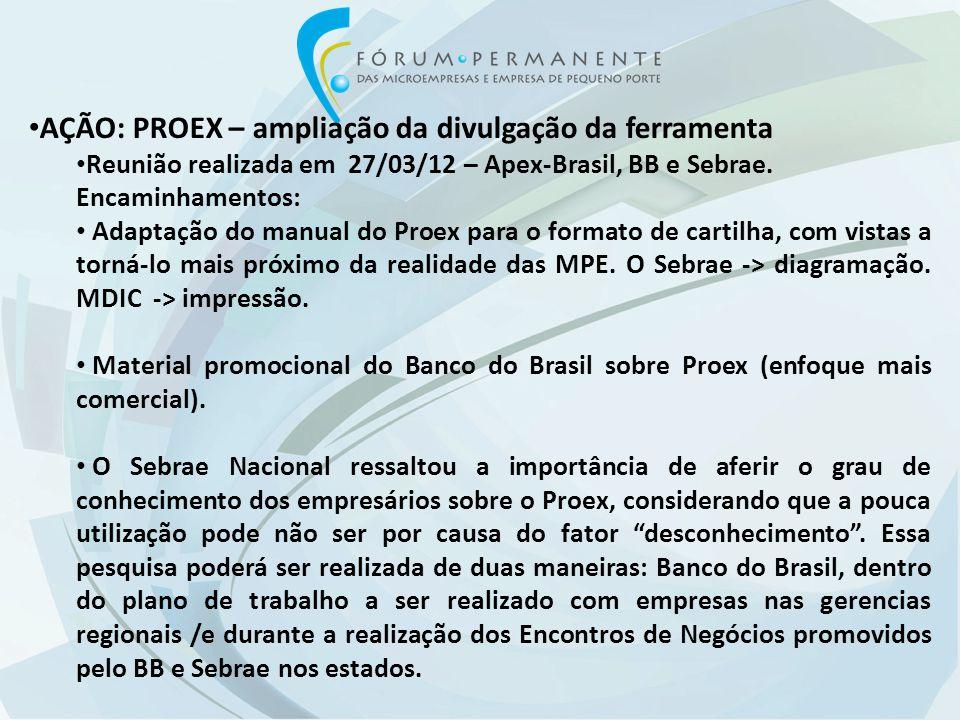 AÇÃO: PROEX – ampliação da divulgação da ferramenta Reunião realizada em 27/03/12 – Apex-Brasil, BB e Sebrae.