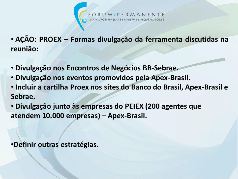 AÇÃO: PROEX – Formas divulgação da ferramenta discutidas na reunião: Divulgação nos Encontros de Negócios BB-Sebrae.