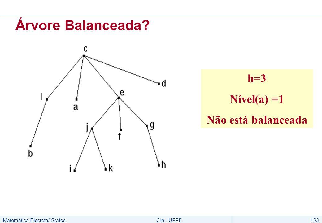 Matemática Discreta/ GrafosCIn - UFPE153 Árvore Balanceada? h=3 Nível(a) =1 Não está balanceada