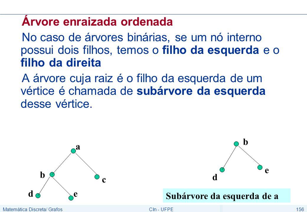 Matemática Discreta/ GrafosCIn - UFPE156 Árvore enraizada ordenada No caso de árvores binárias, se um nó interno possui dois filhos, temos o filho da