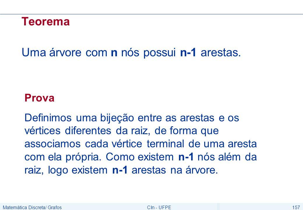 Matemática Discreta/ GrafosCIn - UFPE157 Teorema Uma árvore com n nós possui n-1 arestas. Prova Definimos uma bijeção entre as arestas e os vértices d