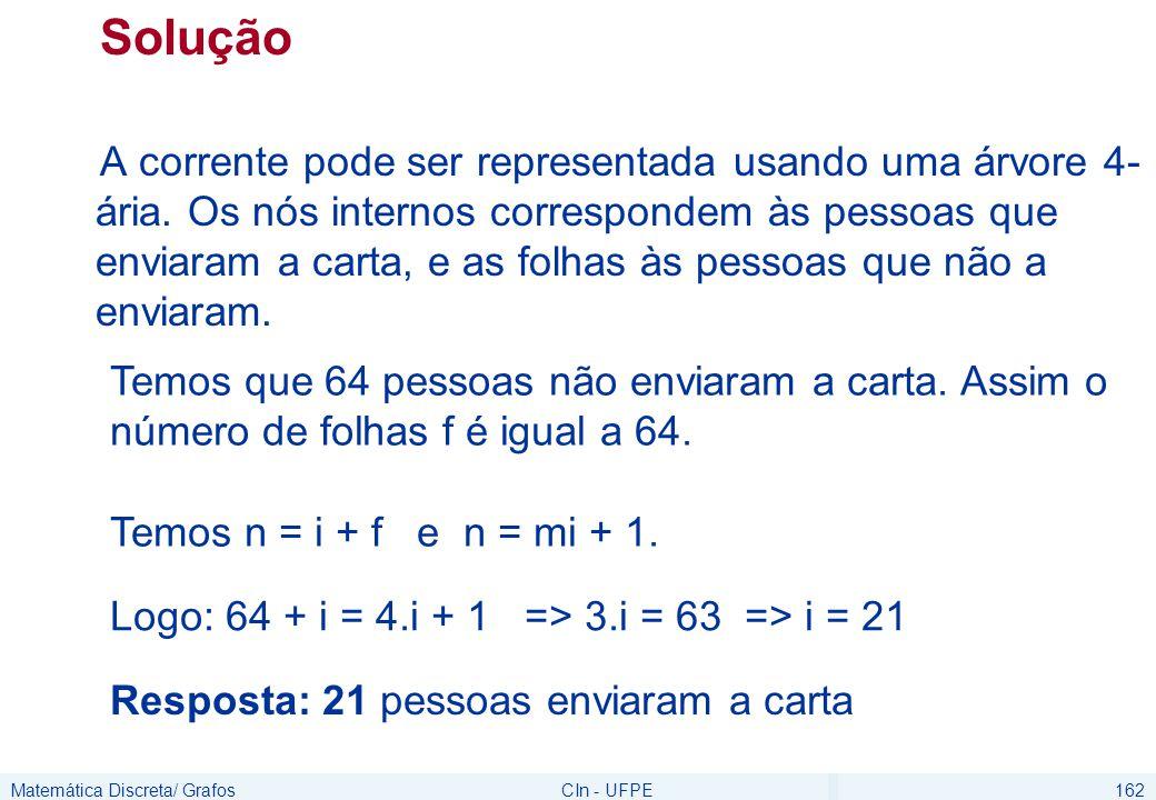Matemática Discreta/ GrafosCIn - UFPE162 Solução A corrente pode ser representada usando uma árvore 4- ária. Os nós internos correspondem às pessoas q