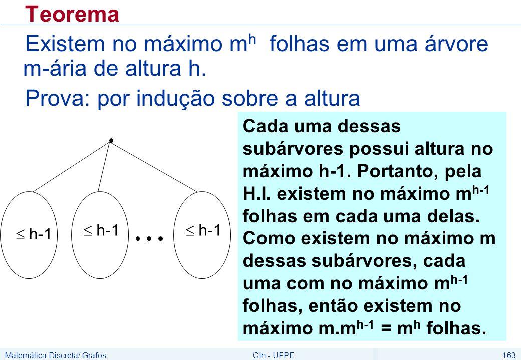 Matemática Discreta/ GrafosCIn - UFPE163 Teorema Existem no máximo m h folhas em uma árvore m-ária de altura h. Prova: por indução sobre a altura  h-