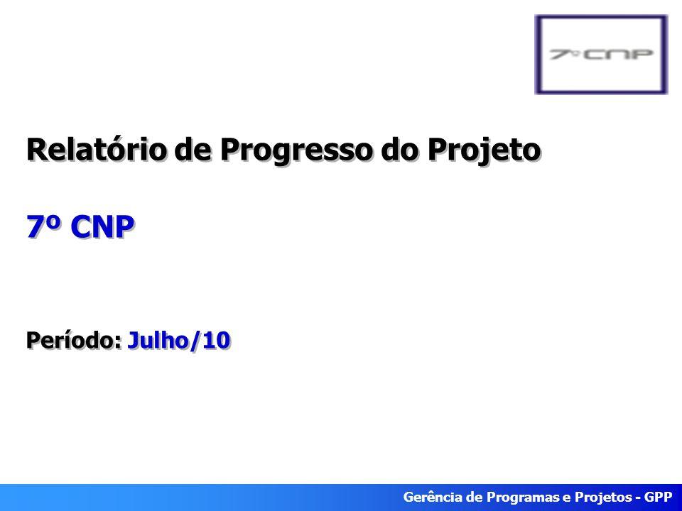 Gerência de Programas e Projetos - GPP Relatório de Progresso do Projeto 7º CNP Período: Julho/10