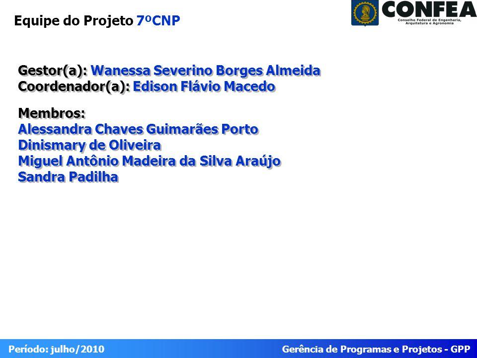 Gerência de Programas e Projetos - GPP Período: julho/2010 Gestor(a): Wanessa Severino Borges Almeida Coordenador(a): Edison Flávio Macedo Membros: Al