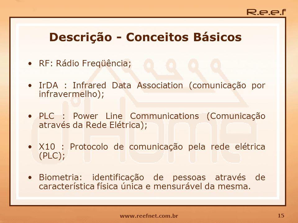 15 www.reefnet.com.br Descrição - Conceitos Básicos RF: Rádio Freqüência; IrDA : Infrared Data Association (comunicação por infravermelho); PLC : Powe