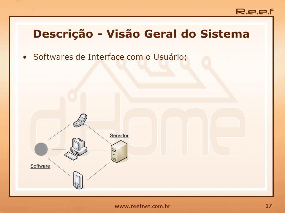 17 www.reefnet.com.br Descrição - Visão Geral do Sistema Softwares de Interface com o Usuário;