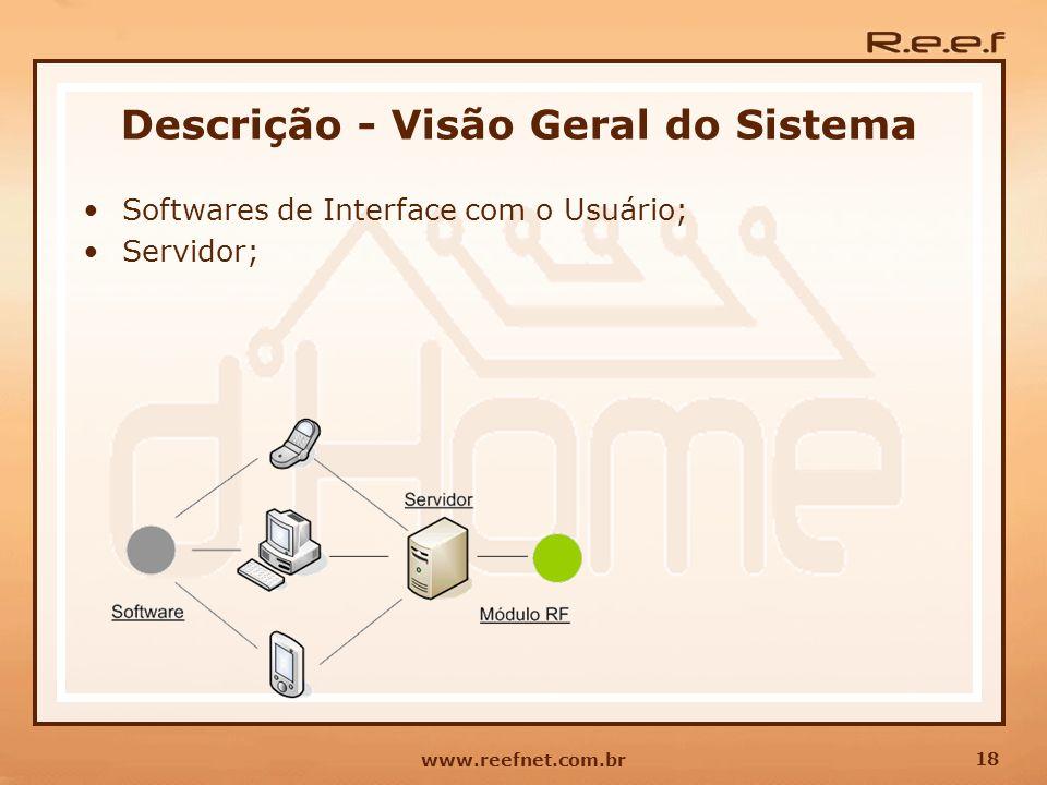 18 www.reefnet.com.br Servidor; Descrição - Visão Geral do Sistema Softwares de Interface com o Usuário;