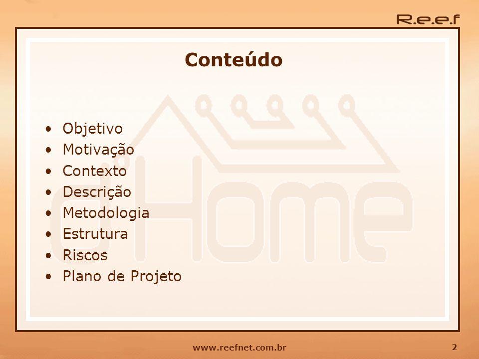 2 www.reefnet.com.br Conteúdo Objetivo Motivação Contexto Descrição Metodologia Estrutura Riscos Plano de Projeto