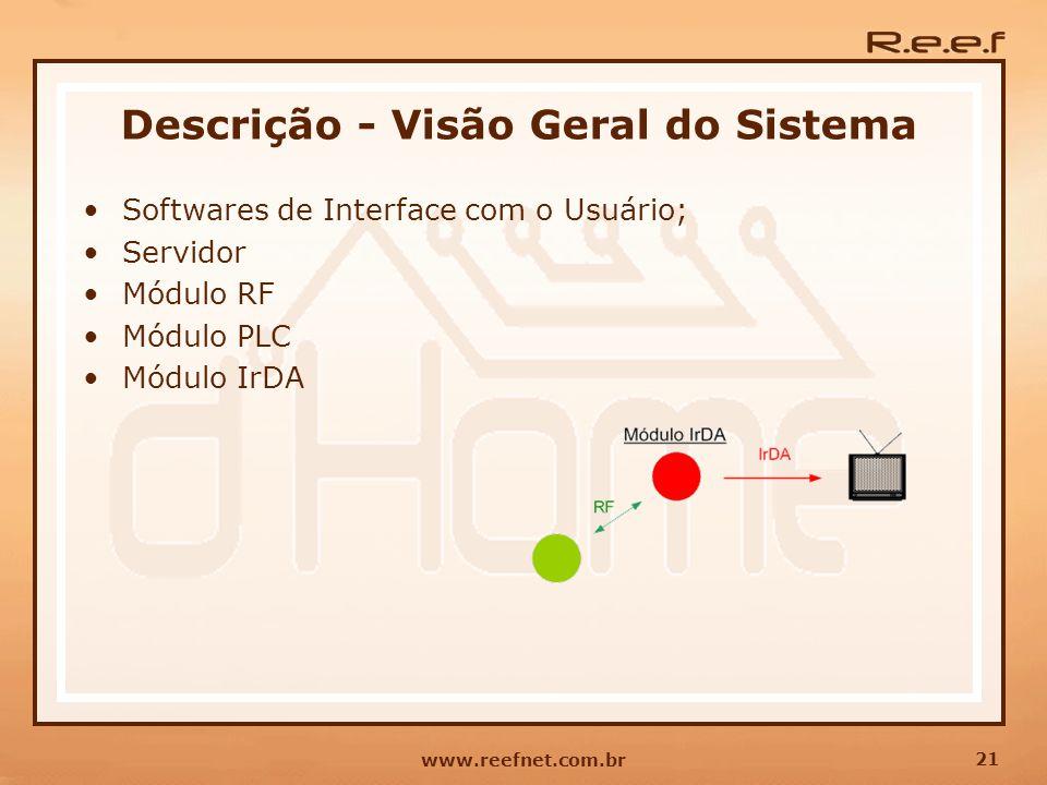 21 www.reefnet.com.br Descrição - Visão Geral do Sistema Softwares de Interface com o Usuário; Servidor Módulo RF Módulo PLC Módulo IrDA