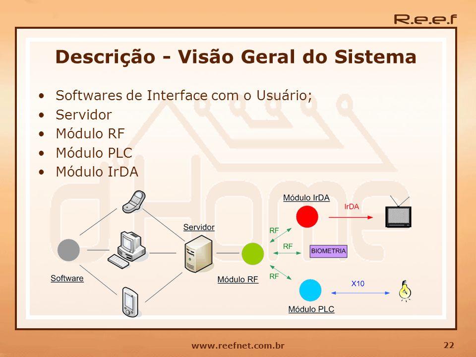 22 www.reefnet.com.br Descrição - Visão Geral do Sistema Softwares de Interface com o Usuário; Servidor Módulo RF Módulo PLC Módulo IrDA