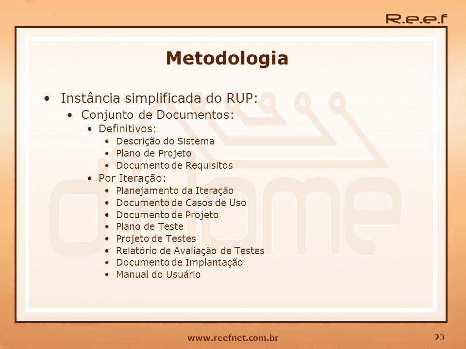 23 www.reefnet.com.br Metodologia Instância simplificada do RUP: Conjunto de Documentos: Definitivos: Descrição do Sistema Plano de Projeto Documento
