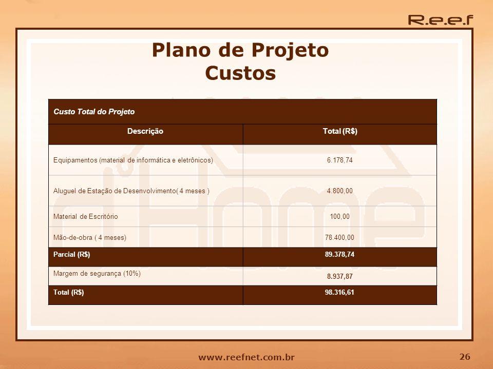 26 www.reefnet.com.br Plano de Projeto Custos Custo Total do Projeto DescriçãoTotal (R$) Equipamentos (material de informática e eletrônicos)6.178,74