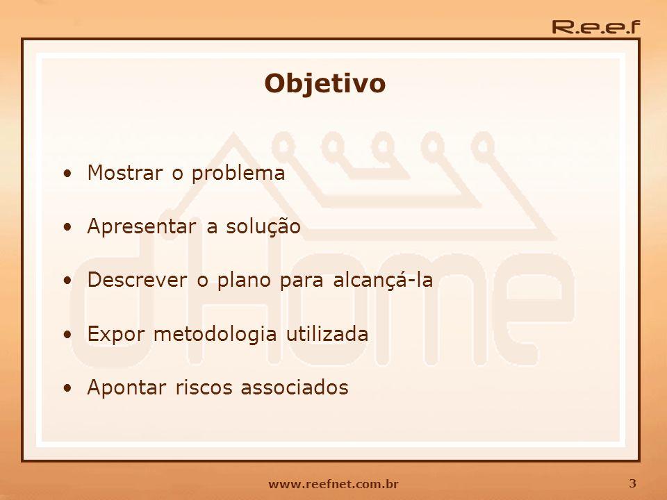 3 www.reefnet.com.br Objetivo Mostrar o problema Apresentar a solução Descrever o plano para alcançá-la Expor metodologia utilizada Apontar riscos ass